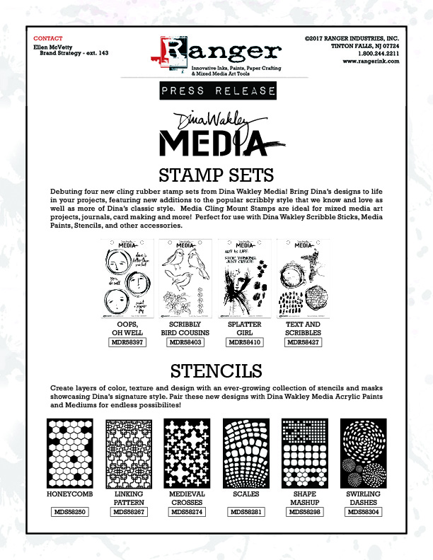 Dina Wakley Media Stamps Stencils Summer2017 PR